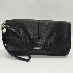 Coach Bags - Coach Ashley Black Leather Flap Wristlet Clutch